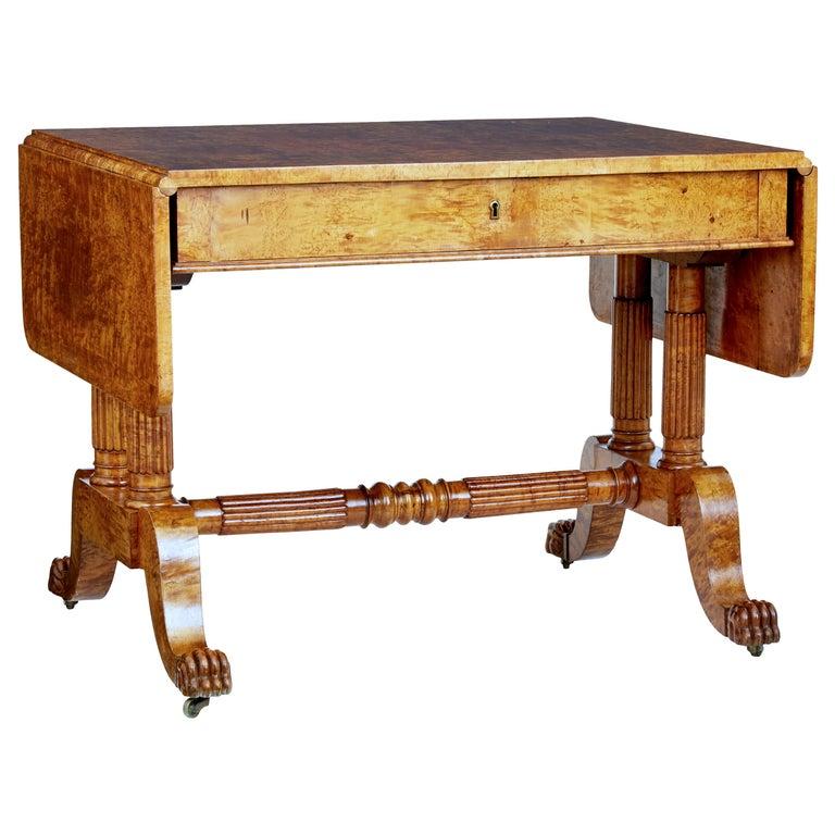 19th Century Burr Birch Biedermeier Sofa Table For Sale