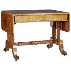 19th Century Burr Birch Biedermeier Sofa Table