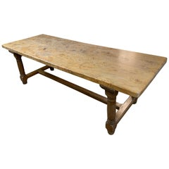 Burr Elm Farmhouse Table with Round Legs and Stretcher