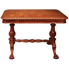 19th Century Burr Oak Writing Table