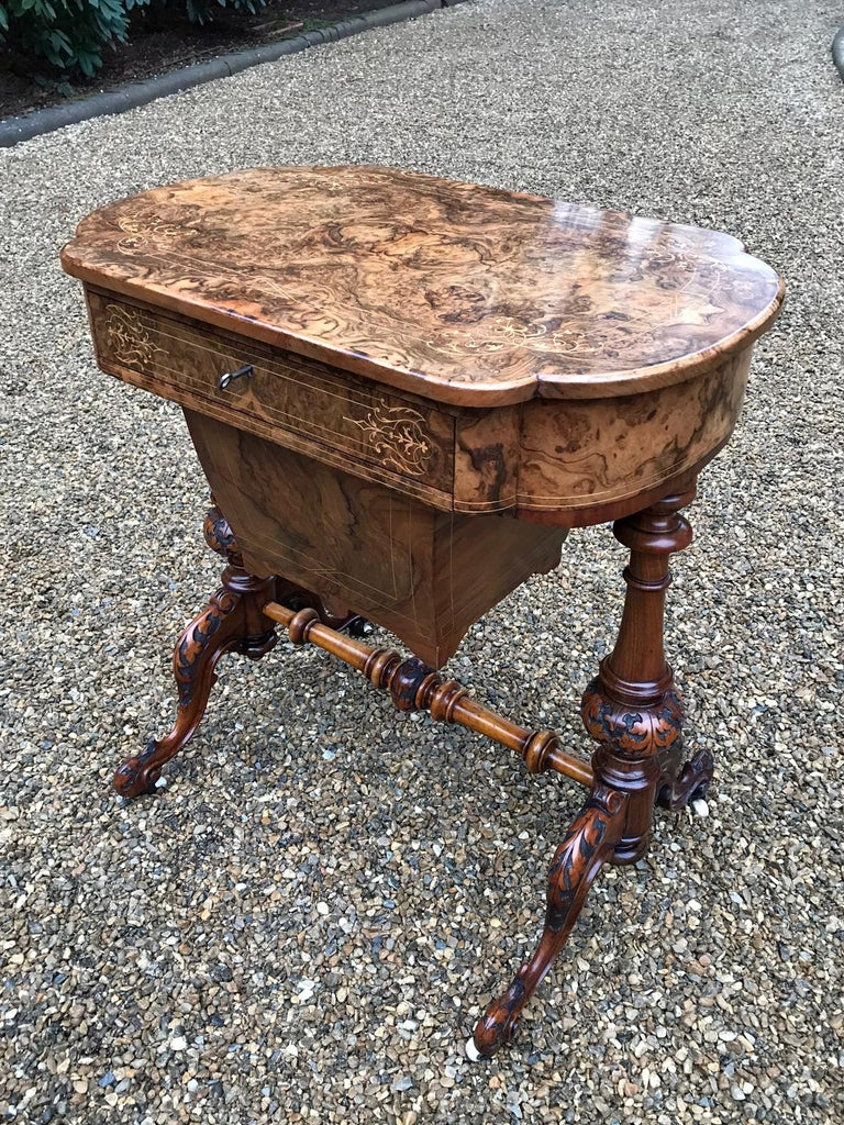 Victorian 19th Century Burr Walnut and Marquetry Work Table For Sale