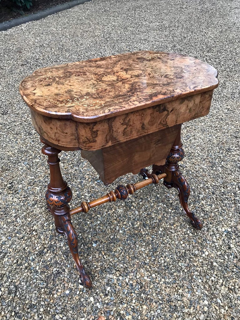 British 19th Century Burr Walnut and Marquetry Work Table For Sale