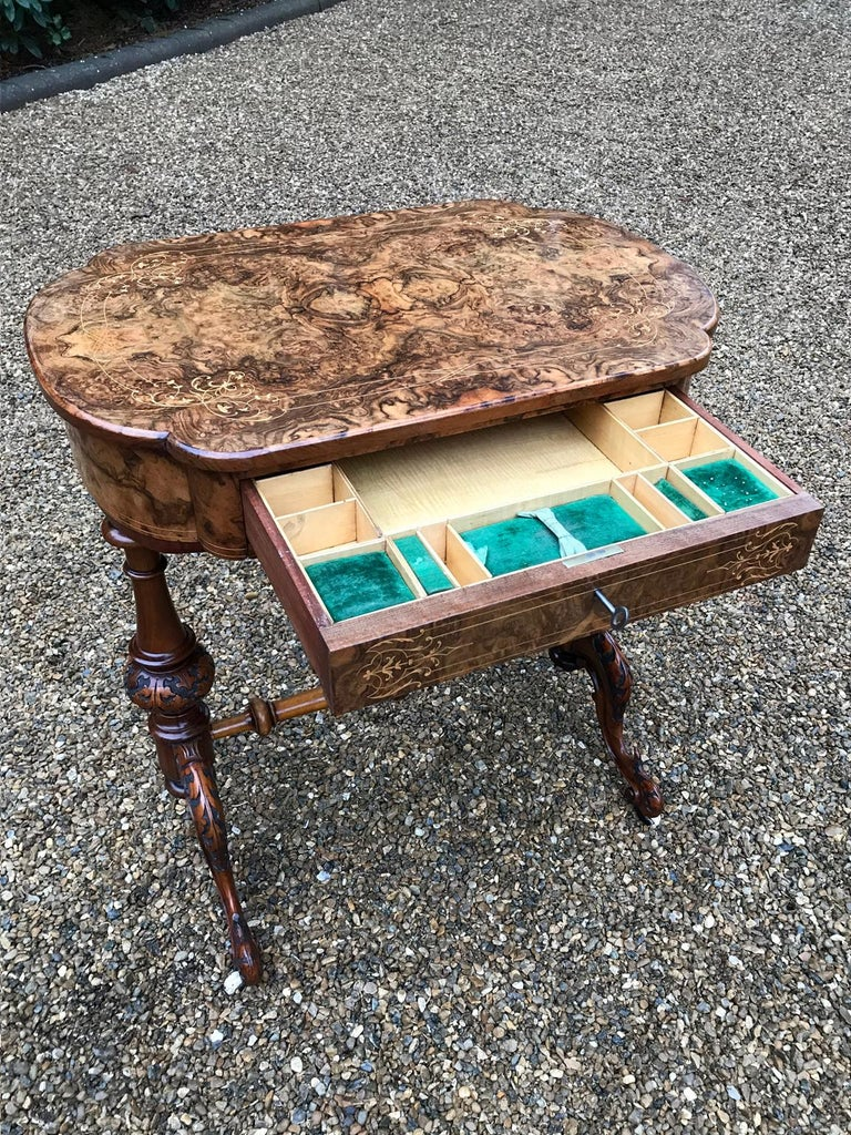 Hand-Crafted 19th Century Burr Walnut and Marquetry Work Table For Sale