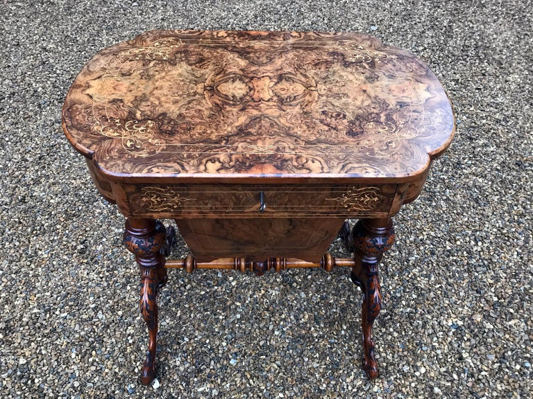 19th Century Burr Walnut and Marquetry Work Table For Sale 1