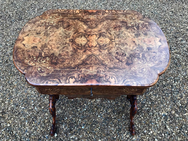 19th Century Burr Walnut and Marquetry Work Table For Sale 2