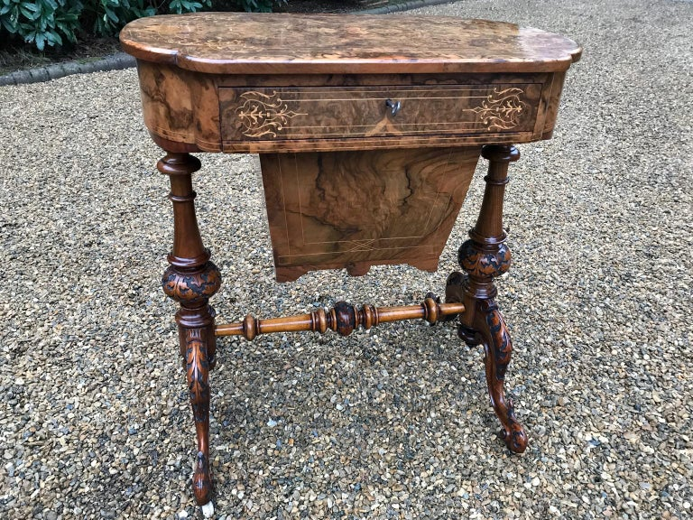 19th Century Burr Walnut and Marquetry Work Table For Sale 3