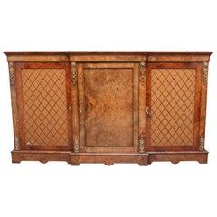 19th Century Burr Walnut Breakfront Cabinet