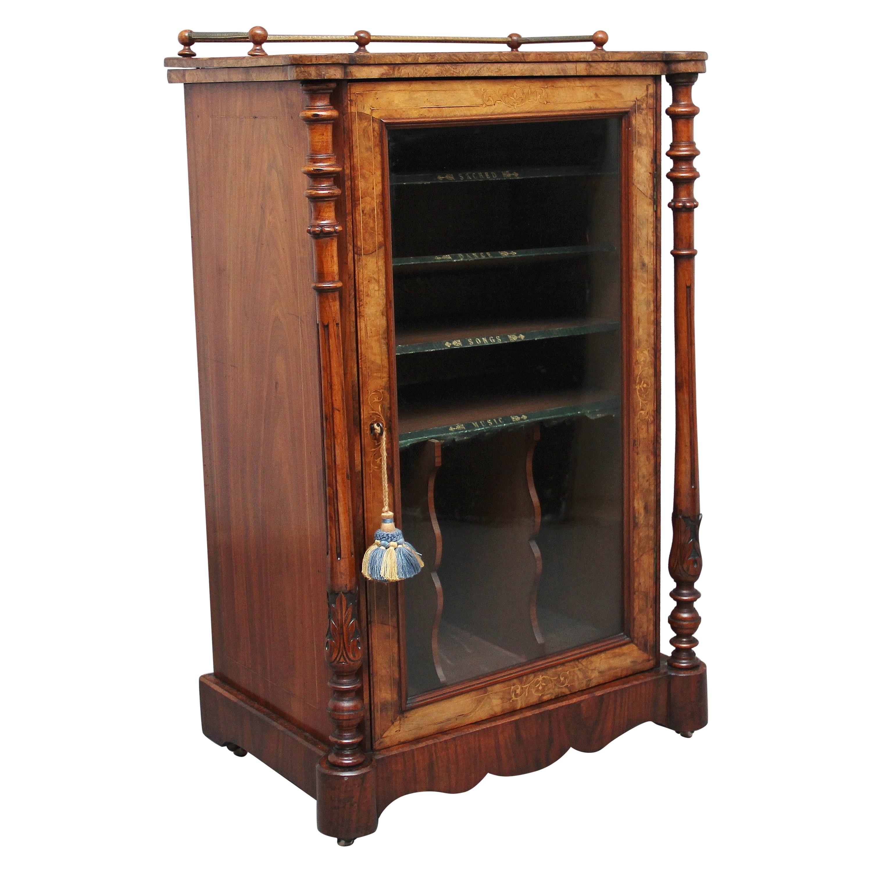 19th Century Burr Walnut Inlaid Music Cabinet
