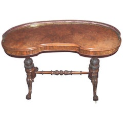 19th Century Burr Walnut Kidney Shaped Library Table