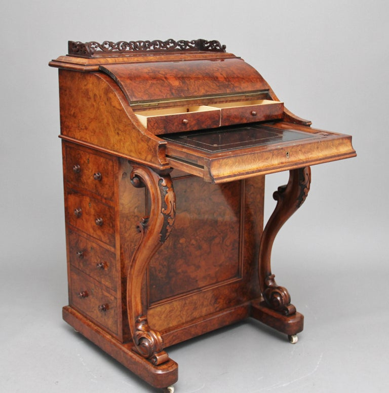 19th Century Burr Walnut Rising Top Davenport For Sale 4