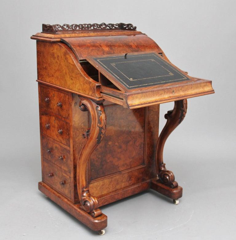19th Century Burr Walnut Rising Top Davenport For Sale 5