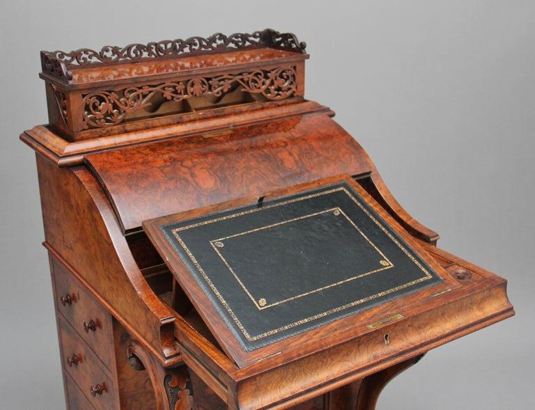 19th Century Burr Walnut Rising Top Davenport For Sale 7
