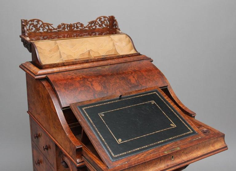 19th Century Burr Walnut Rising Top Davenport For Sale 8