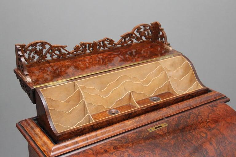 19th Century Burr Walnut Rising Top Davenport For Sale 9