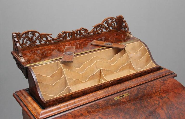 19th Century Burr Walnut Rising Top Davenport For Sale 10
