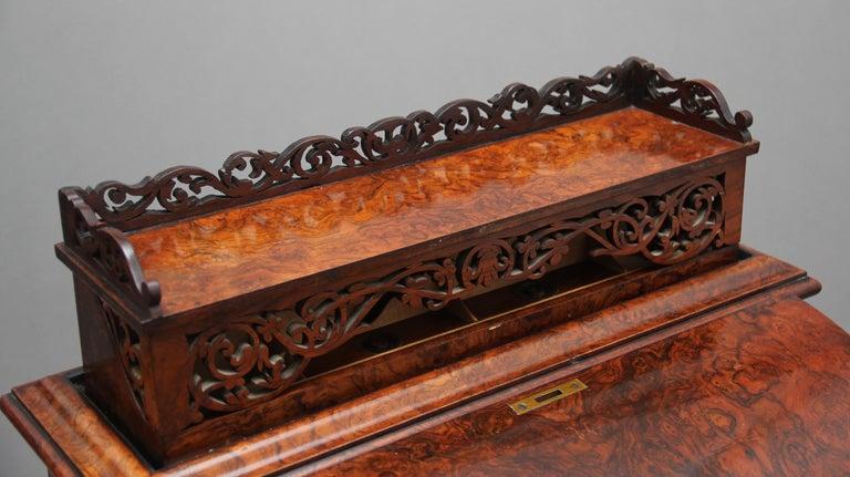 19th Century Burr Walnut Rising Top Davenport For Sale 11