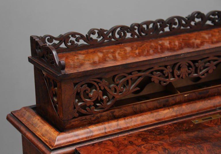 19th Century Burr Walnut Rising Top Davenport For Sale 12