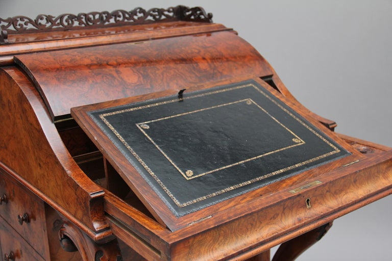 19th Century Burr Walnut Rising Top Davenport For Sale 13