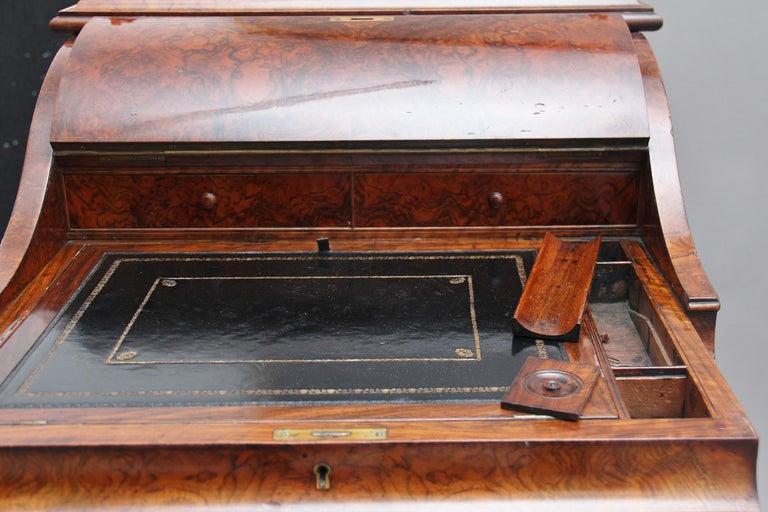 19th Century Burr Walnut Rising Top Davenport For Sale 14
