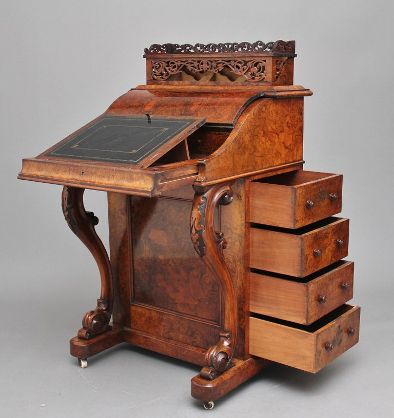 Early Victorian 19th Century Burr Walnut Rising Top Davenport For Sale