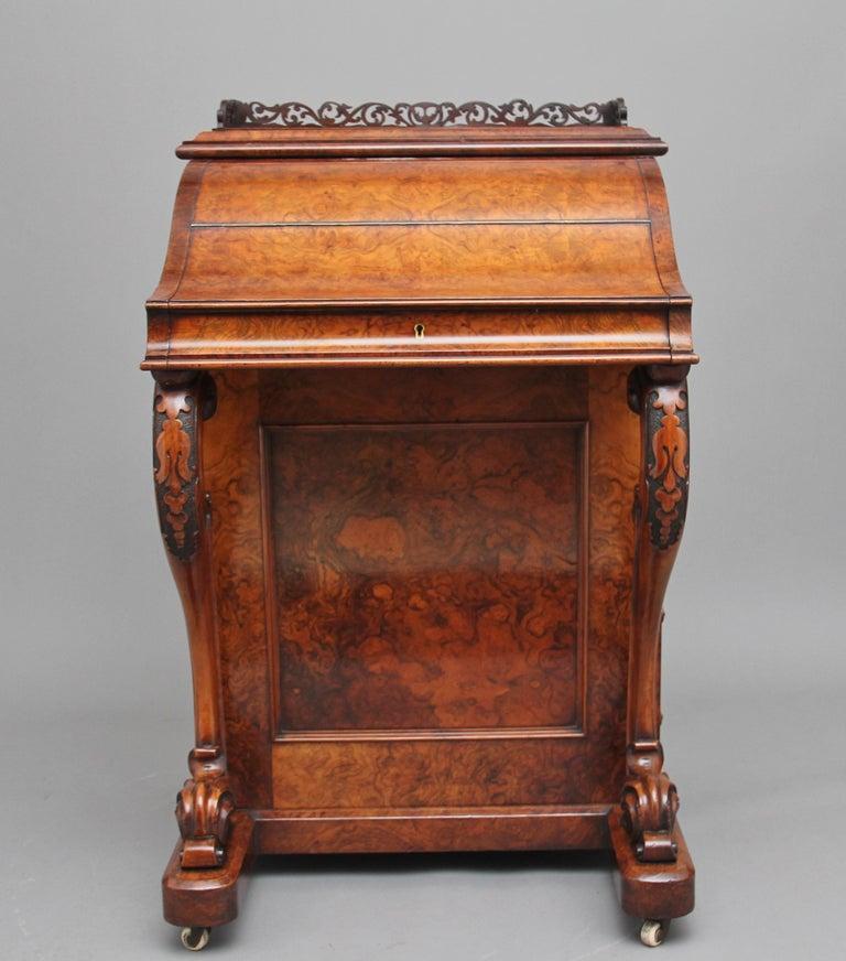British 19th Century Burr Walnut Rising Top Davenport For Sale