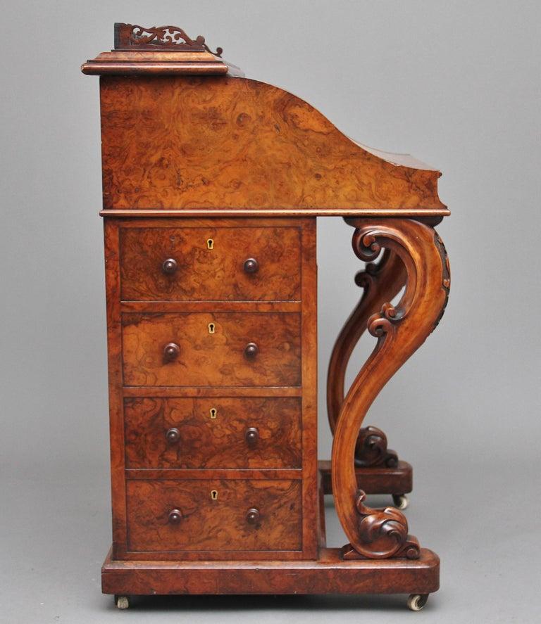 Mid-19th Century 19th Century Burr Walnut Rising Top Davenport For Sale