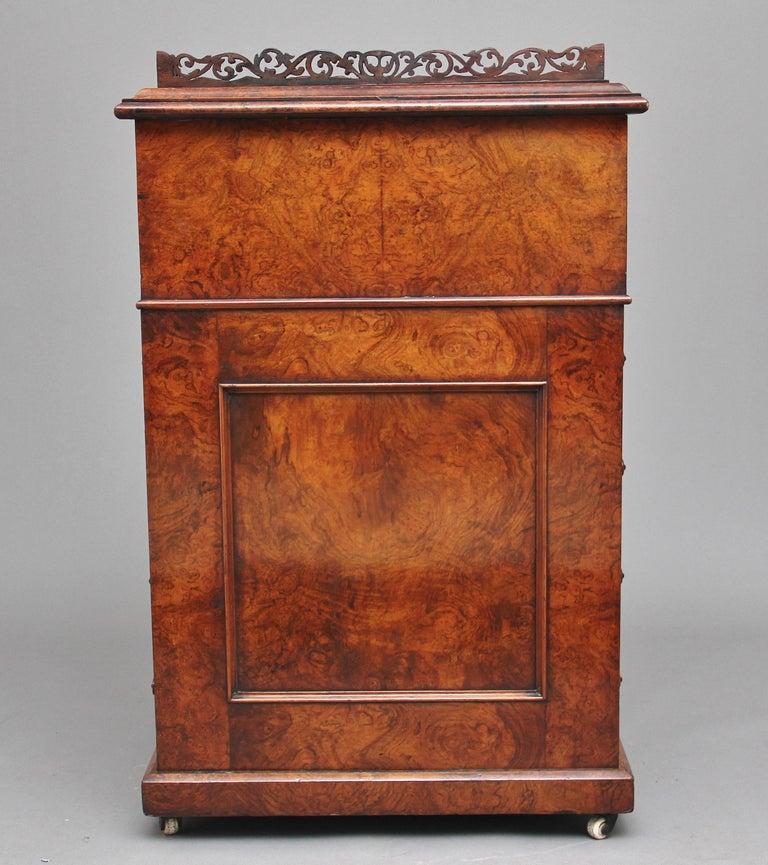 19th Century Burr Walnut Rising Top Davenport For Sale 1