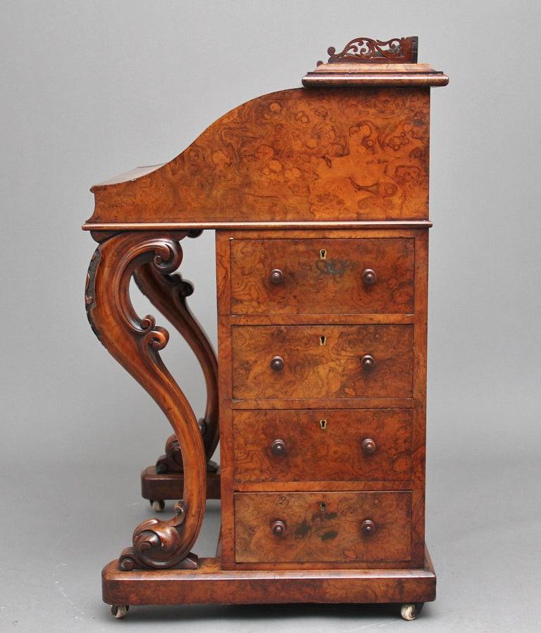 19th Century Burr Walnut Rising Top Davenport For Sale 2
