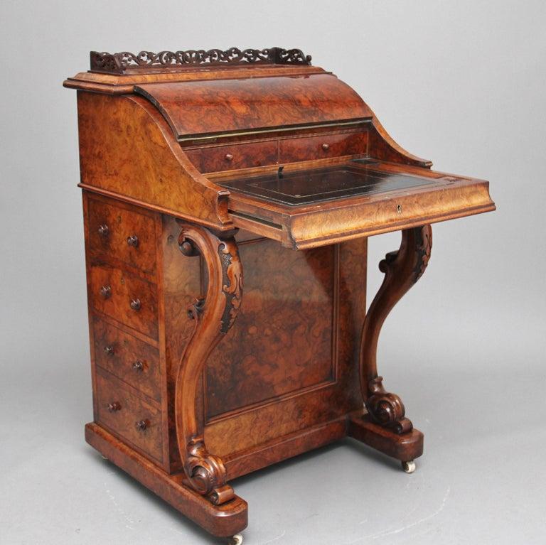 19th Century Burr Walnut Rising Top Davenport For Sale 3