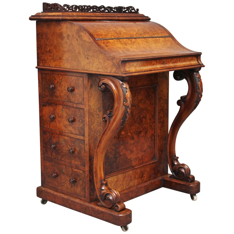 19th Century Burr Walnut Rising Top Davenport For Sale