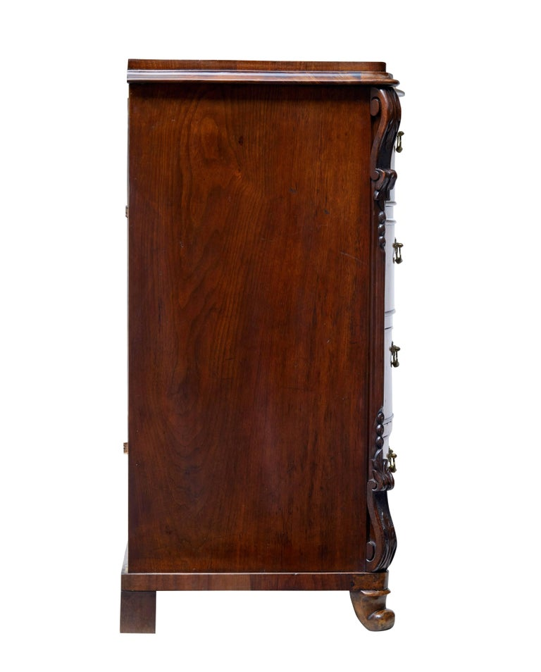English 19th Century Burr Walnut Serpentine Chest of Drawers For Sale