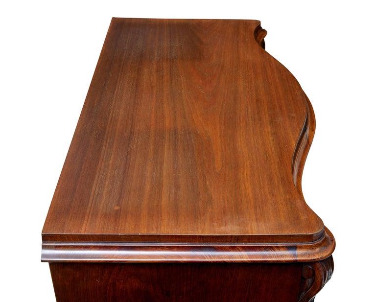 19th Century Burr Walnut Serpentine Chest of Drawers In Good Condition For Sale In Debenham, Suffolk