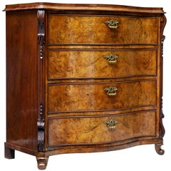 19th Century Burr Walnut Serpentine Chest of Drawers