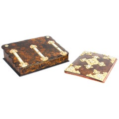 19th Century Burr Walnut Stationery Casket, Blotter Inkstand