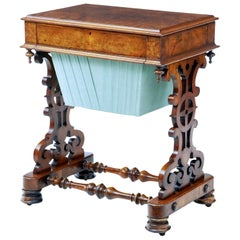 19th Century Burr Walnut Work Occasional Table
