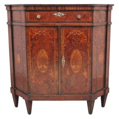 19th Century Burr Yew Wood and Inlaid Corner Cabinet