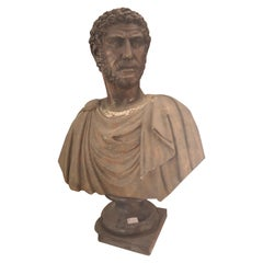 19th Century Bust in Marble and Bronze Finely Carved and Chiseled