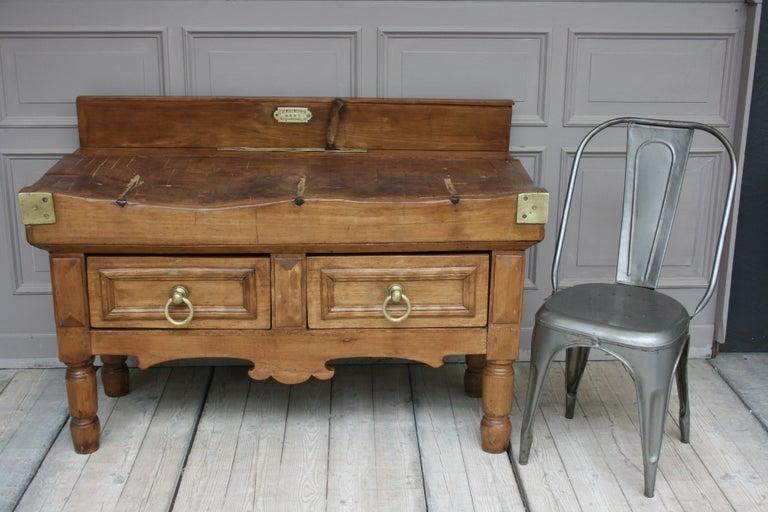 Belgian 19th Century Butcher Block Table from Belgium For Sale