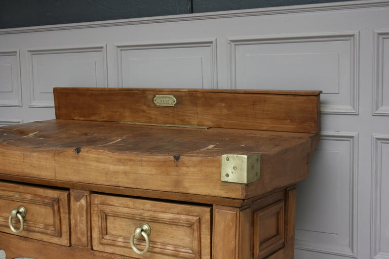 Brass 19th Century Butcher Block Table from Belgium For Sale