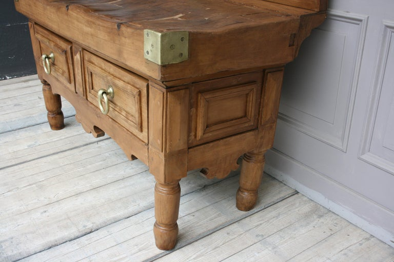 19th Century Butcher Block Table from Belgium For Sale 1