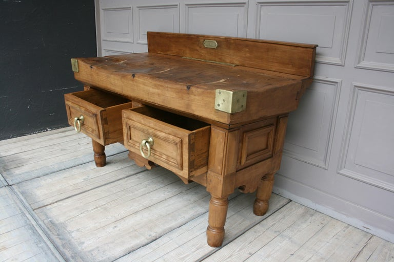 19th Century Butcher Block Table from Belgium For Sale 2