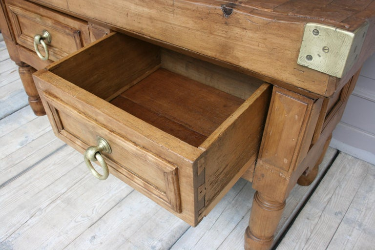 19th Century Butcher Block Table from Belgium For Sale 3