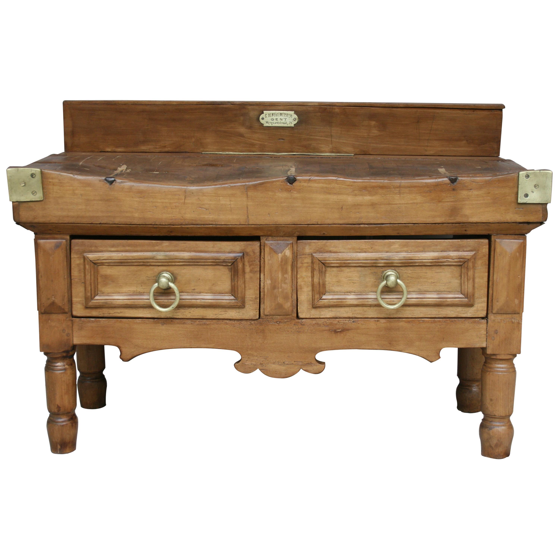 19th Century Butcher Block Table from Belgium