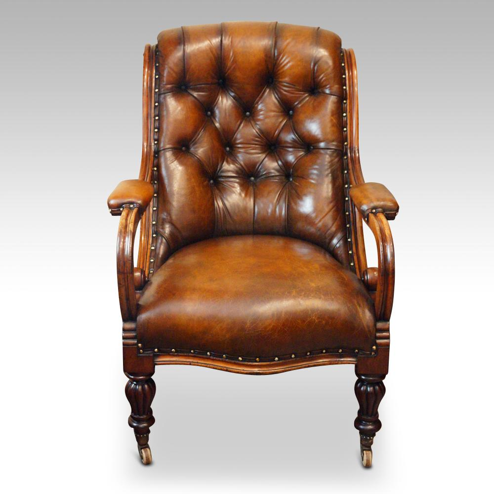 Awe Inspiring 19Th Century Button Back Leather Reading Easy Chair For Sale Caraccident5 Cool Chair Designs And Ideas Caraccident5Info