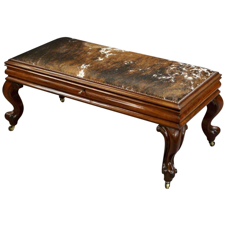 19th Century Cabriole Leg Mahogany Stool with Cowhide Upholstered Lift Up Top