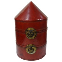 19th Century Cambodian Campaing Papier Mâché Red Lacquered Box
