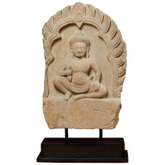 19th Century Cambodian Carved Stone Stela of Seated Buddha in Lalitasana Mudra