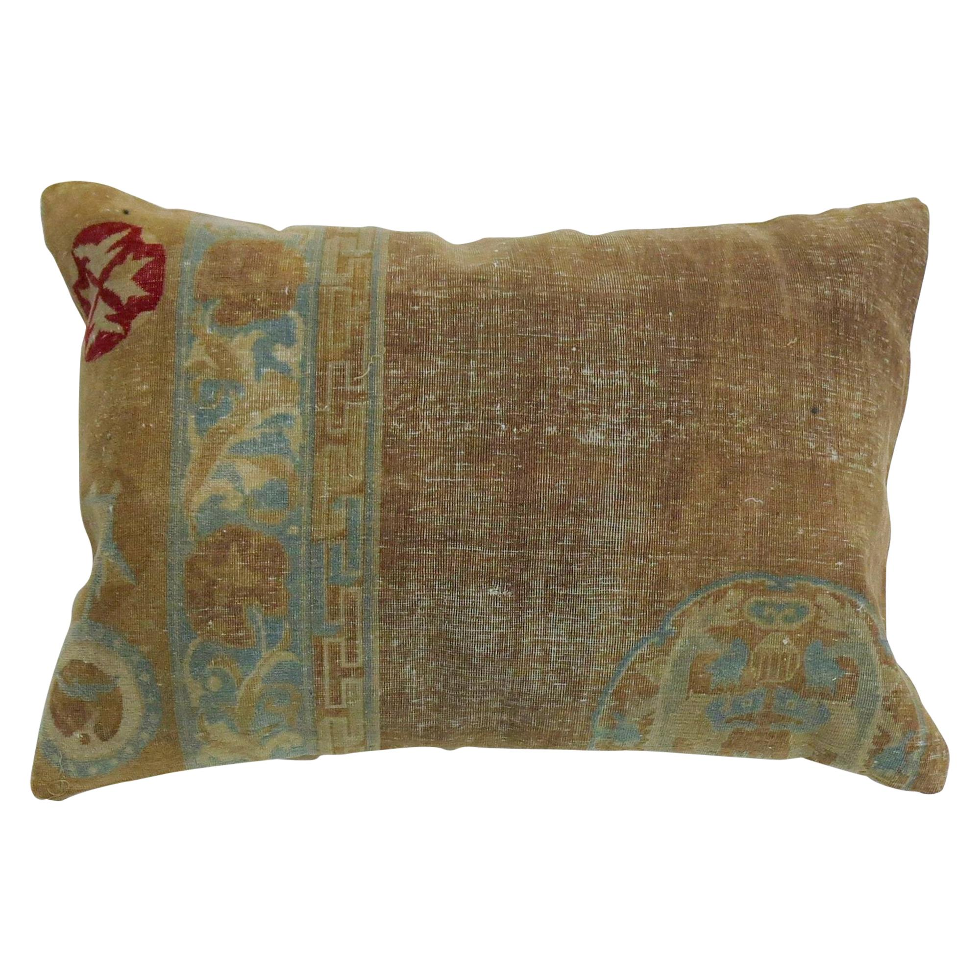19th Century Camel Soft Blue Chinese Wool Oriental Rug Pillow