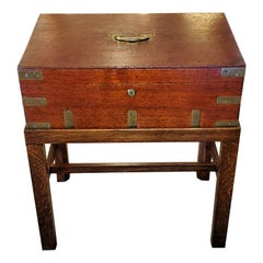 19th Century Campaign Candle Box or Chest on Stand by J. Bramah