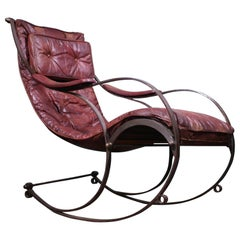 19th Century Campaign Ox Blood Leather Rocking Chair R.W. Winfield